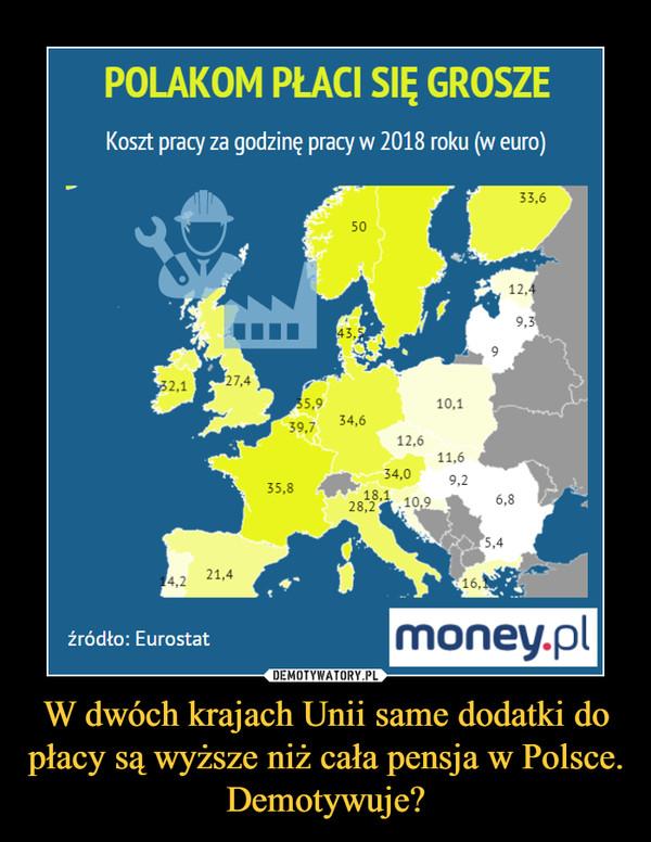 W dwóch krajach Unii same dodatki do płacy są wyższe niż cała pensja w Polsce. Demotywuje? –  POLAKOM PŁACI SIĘ GROSZEKoszt pracy za godzinę pracy w 2018 roku (w euro)