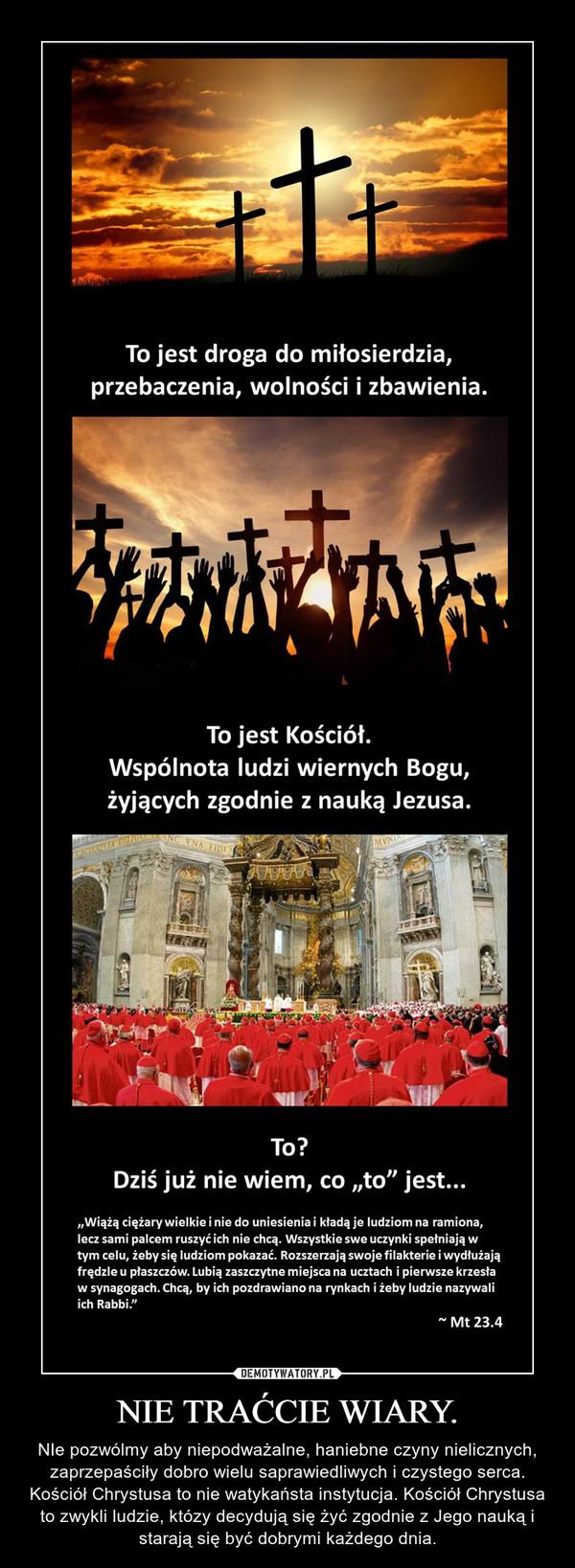NIE TRAĆCIE WIARY. – NIe pozwólmy aby niepodważalne, haniebne czyny nielicznych, zaprzepaściły dobro wielu saprawiedliwych i czystego serca. Kościół Chrystusa to nie watykaństa instytucja. Kościół Chrystusa to zwykli ludzie, któzy decydują się żyć zgodnie z Jego nauką i starają się być dobrymi każdego dnia.