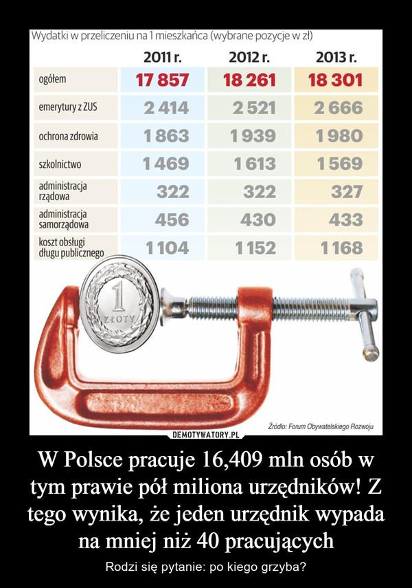 W Polsce pracuje 16,409 mln osób w tym prawie pół miliona urzędników! Z tego wynika, że jeden urzędnik wypada na mniej niż 40 pracujących – Rodzi się pytanie: po kiego grzyba?