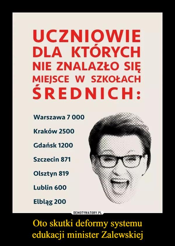 Oto skutki deformy systemuedukacji minister Zalewskiej –  UCZNIOWIEDLA KTÓRYCHNIE ZNALAZŁO SIĘMIEJSCE W SZKOŁACHŚREDNICH:Warszawa 7 000Kraków 2500Gdańsk 1200Szczecin 871Olsztyn 819Lublin 600Elbląg 200