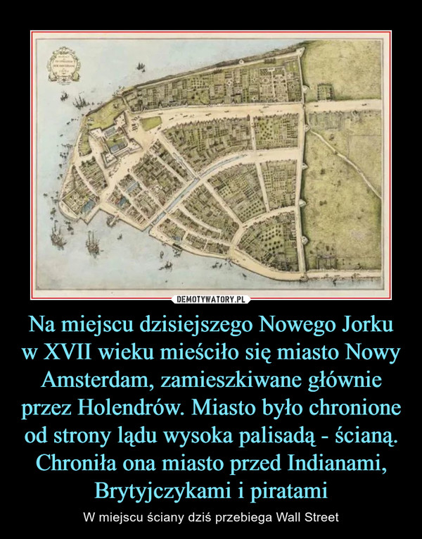 Na miejscu dzisiejszego Nowego Jorku w XVII wieku mieściło się miasto Nowy Amsterdam, zamieszkiwane głównie przez Holendrów. Miasto było chronione od strony lądu wysoka palisadą - ścianą. Chroniła ona miasto przed Indianami, Brytyjczykami i piratami – W miejscu ściany dziś przebiega Wall Street