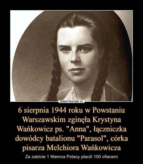 """6 sierpnia 1944 roku w Powstaniu Warszawskim zginęła Krystyna Wańkowicz ps. """"Anna"""", łączniczka dowódcy batalionu """"Parasol"""", córka pisarza Melchiora Wańkowicza"""