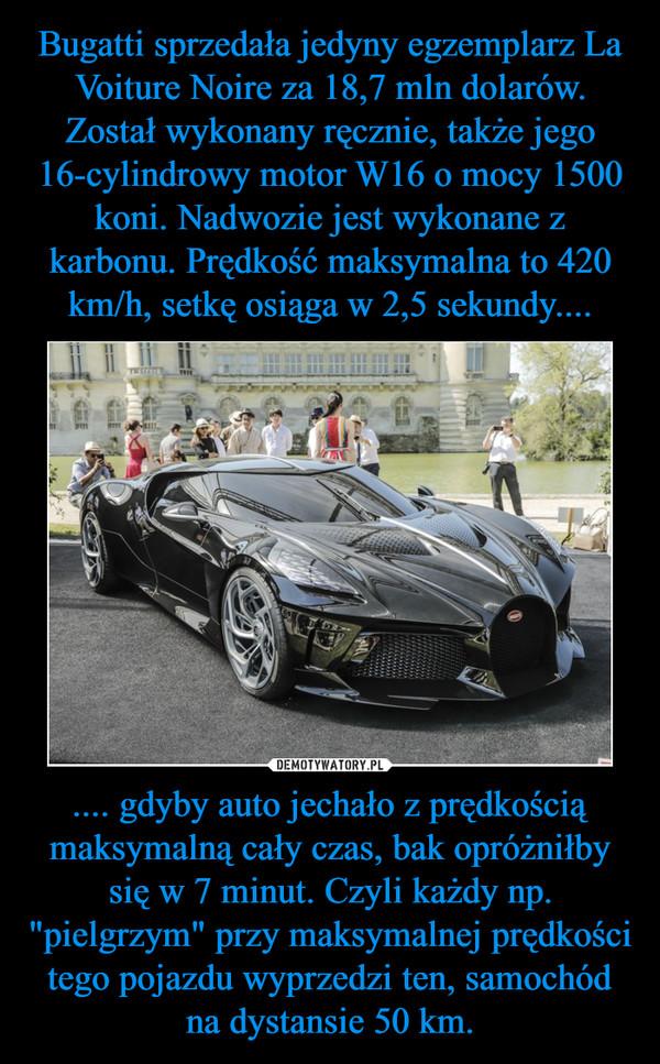 """.... gdyby auto jechało z prędkością maksymalną cały czas, bak opróżniłby się w 7 minut. Czyli każdy np. """"pielgrzym"""" przy maksymalnej prędkości tego pojazdu wyprzedzi ten, samochód na dystansie 50 km. –"""