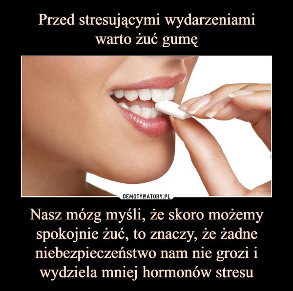 Nasz mózg myśli, że skoro możemy spokojnie żuć, to znaczy, że żadne niebezpieczeństwo nam nie grozi i wydziela mniej hormonów stresu –