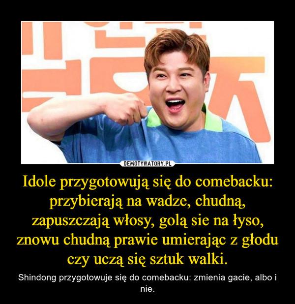 Idole przygotowują się do comebacku: przybierają na wadze, chudną, zapuszczają włosy, golą sie na łyso, znowu chudną prawie umierając z głodu czy uczą się sztuk walki. – Shindong przygotowuje się do comebacku: zmienia gacie, albo i nie.