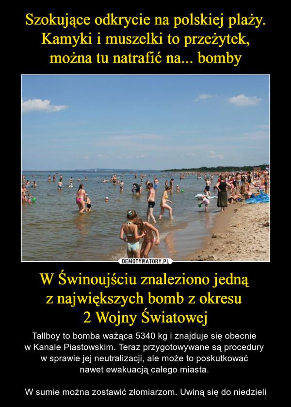 Szokujące odkrycie na polskiej plaży. Kamyki i muszelki to przeżytek, można tu natrafić na... bomby W Świnoujściu znaleziono jedną  z największych bomb z okresu  2 Wojny Światowej