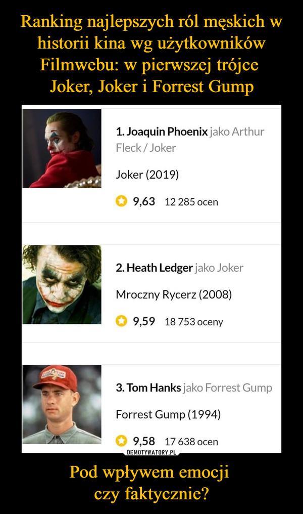 Ranking najlepszych ról męskich w historii kina wg użytkowników Filmwebu: w pierwszej trójce  Joker, Joker i Forrest Gump Pod wpływem emocji  czy faktycznie?
