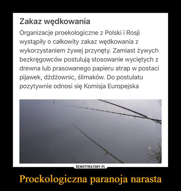 Proekologiczna paranoja narasta –  Zakaz wędkowania Organizacje proekologiczne z Polski i Rosji wystąpiły o całkowity zakaz wędkowania z wykorzystaniem żywej przynęty. Zamiast żywych bezkręgowców postulują stosowanie wyciętych z drewna lub prasowanego papieru atrap w postaci pijawek, dżdżownic, ślimaków. Do postulatu pozytywnie odnosi się Komisja Europejska