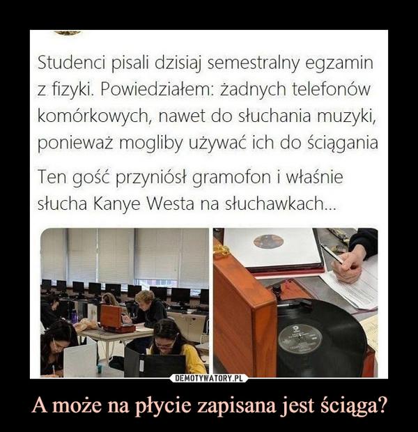 A może na płycie zapisana jest ściąga? –  Studenci pisali dzisiaj semestralny egzaminz fizyki. Powiedziałem: żadnych telefonówkomórkowych, nawet do słuchania muzyki,ponieważ mogliby używać ich do ściąganiaTen gość przyniósł gramofon i właśniestucha Kanye Westa na słuchawkach...