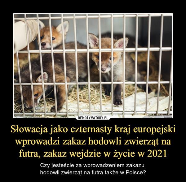 Słowacja jako czternasty kraj europejski wprowadzi zakaz hodowli zwierząt na futra, zakaz wejdzie w życie w 2021 – Czy jesteście za wprowadzeniem zakazu hodowli zwierząt na futra także w Polsce?