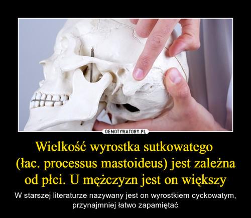 Wielkość wyrostka sutkowatego  (łac. processus mastoideus) jest zależna od płci. U mężczyzn jest on większy