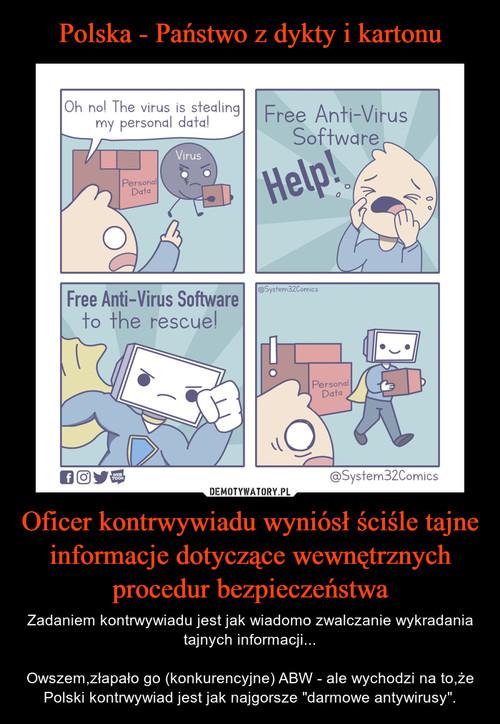 Polska - Państwo z dykty i kartonu Oficer kontrwywiadu wyniósł ściśle tajne informacje dotyczące wewnętrznych procedur bezpieczeństwa