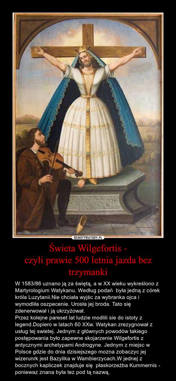Świeta Wilgefortis -czyli prawie 500 letnia jazda bez trzymanki – W 1583/86 uznano ją za świętą, a w XX wieku wykreślono z  Martyrologium Watykanu. Według podań  była jedną z córek króla Luzytanii.Nie chciała wyjśc za wybranka ojca i wymodliła oszpecenie. Urosła jej broda. Tato się zdenerwował i ją ukrzyżował.Przez kolejne pareset lat ludzie modlili sie do istoty z legend.Dopiero w latach 60 XXw. Watykan zrezygnował z usług tej swietej. Jednym z głównych powodów takiego postępowania było zapewne skojarzenie Wilgefortis z antycznymi archetypami Androgyne. Jednym z miejsc w Polsce gdzie do dnia dzisiejszego mozna zobaczyc jej wizerunrk jest Bazylika w Wambierzycach.W jednej z bocznych kapliczek znajduje się  płaskorzeźba Kummernis - poniewaz znana była tez pod tą nazwą.