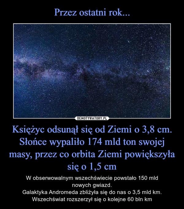 Księżyc odsunął się od Ziemi o 3,8 cm.Słońce wypaliło 174 mld ton swojej masy, przez co orbita Ziemi powiększyła się o 1,5 cm – W obserwowalnym wszechświecie powstało 150 mldnowych gwiazd.Galaktyka Andromeda zbliżyła się do nas o 3,5 mld km.Wszechświat rozszerzył się o kolejne 60 bln km