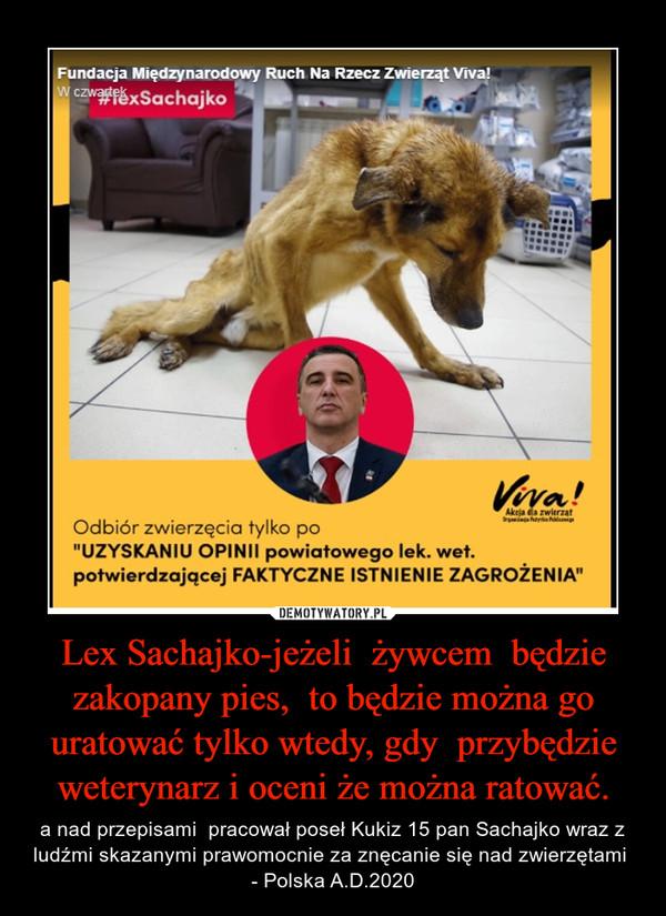 Lex Sachajko-jeżeli  żywcem  będzie zakopany pies,  to będzie można go uratować tylko wtedy, gdy  przybędzie weterynarz i oceni że można ratować. – a nad przepisami  pracował poseł Kukiz 15 pan Sachajko wraz z ludźmi skazanymi prawomocnie za znęcanie się nad zwierzętami  - Polska A.D.2020