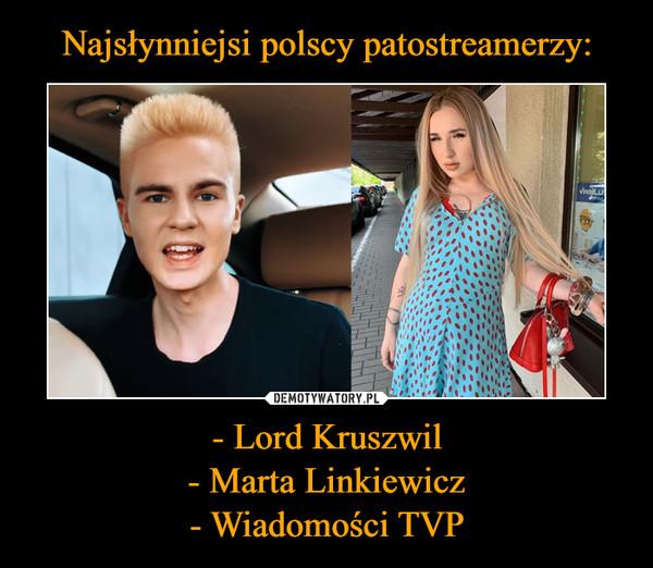 - Lord Kruszwil- Marta Linkiewicz- Wiadomości TVP –