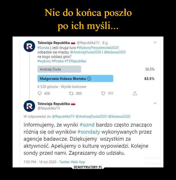 –  Telewizja Republika - @RepublikaTV -8 g.R #Sonda   Jeśli druga tura #WyboryPrezydenckie2020odbędzie się między @AndrzejDuda2020 i @kidawa2020na kogo oddasz głos?#wybory #Polska #TVRepublikaAndrzej Duda36.5%Małgorzata Kidawa Blońska O63.5%6 528 głosów Wyniki końcowe40817 889701R Telewizja Republika -@RepublikaTVW odpowiedzi do @RepublikaTV @AndrzejDuda2020 i@kidawa2020Informujemy, że wyniki #sond bardzo często znaczącoróżnią się od wyników #sondaży wykonywanych przezagencje badawcze. Dziękujemy wszystkim zaaktywność. Apelujemy o kulturę wypowiedzi. Kolejnesondy przed nami. Zapraszamy do udziału.NonsensdInstitute7:05 PM 16 lut 2020 Twitter Web App