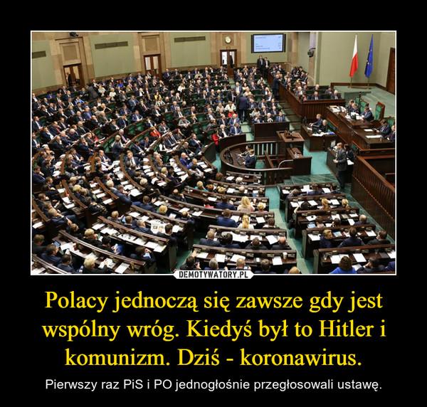 Polacy jednoczą się zawsze gdy jest wspólny wróg. Kiedyś był to Hitler i komunizm. Dziś - koronawirus. – Pierwszy raz PiS i PO jednogłośnie przegłosowali ustawę.