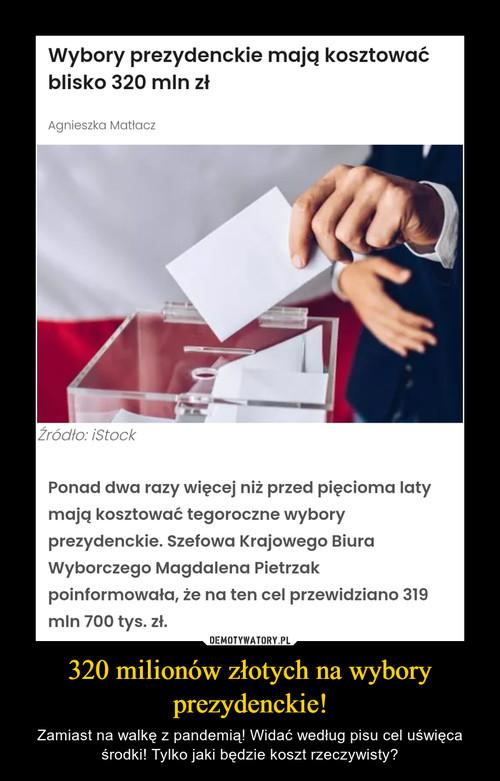 320 milionów złotych na wybory prezydenckie!