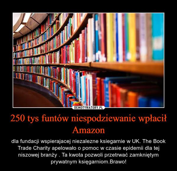 250 tys funtów niespodziewanie wpłacił Amazon – dla fundacji wspierajacej niezalezne ksiegarnie w UK. The Book Trade Charity apelowało o pomoc w czasie epidemii dla tej niszowej branży . Ta kwota pozwoli przetrwać zamkniętym prywatnym księgarniom.Brawo!