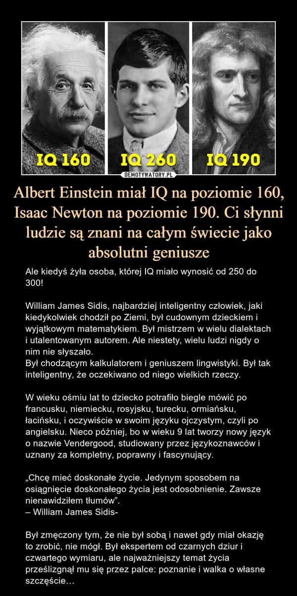 """Albert Einstein miał IQ na poziomie 160, Isaac Newton na poziomie 190. Ci słynni ludzie są znani na całym świecie jako absolutni geniusze – Ale kiedyś żyła osoba, której IQ miało wynosić od 250 do 300!William James Sidis, najbardziej inteligentny człowiek, jaki kiedykolwiek chodził po Ziemi, był cudownym dzieckiem i wyjątkowym matematykiem. Był mistrzem w wielu dialektach i utalentowanym autorem. Ale niestety, wielu ludzi nigdy o nim nie słyszało.Był chodzącym kalkulatorem i geniuszem lingwistyki. Był tak inteligentny, że oczekiwano od niego wielkich rzeczy.W wieku ośmiu lat to dziecko potrafiło biegle mówić po francusku, niemiecku, rosyjsku, turecku, ormiańsku, łacińsku, i oczywiście w swoim języku ojczystym, czyli po angielsku. Nieco później, bo w wieku 9 lat tworzy nowy język o nazwie Vendergood, studiowany przez językoznawców i uznany za kompletny, poprawny i fascynujący.""""Chcę mieć doskonałe życie. Jedynym sposobem na osiągnięcie doskonałego życia jest odosobnienie. Zawsze nienawidziłem tłumów"""".– William James Sidis-Był zmęczony tym, że nie był sobą i nawet gdy miał okazję to zrobić, nie mógł. Był ekspertem od czarnych dziur i czwartego wymiaru, ale najważniejszy temat życia prześlizgnął mu się przez palce: poznanie i walka o własne szczęście… Ale kiedyś żyła osoba, której IQ miało wynosić od 250 do 300!William James Sidis, najbardziej inteligentny człowiek, jaki kiedykolwiek chodził po Ziemi, był cudownym dzieckiem i wyjątkowym matematykiem. Był mistrzem w wielu dialektach i utalentowanym autorem. Ale niestety, wielu ludzi nigdy o nim nie słyszało.Był chodzącym kalkulatorem i geniuszem lingwistyki. Był tak inteligentny, że oczekiwano od niego wielkich rzeczy.W wieku ośmiu lat to dziecko potrafiło biegle mówić po francusku, niemiecku, rosyjsku, turecku, ormiańsku, łacińsku, i oczywiście w swoim języku ojczystym, czyli po angielsku. Nieco później, bo w wieku 9 lat tworzy nowy język o nazwie Vendergood, studiowany przez językoznawców i uznany za kompletny, poprawn"""