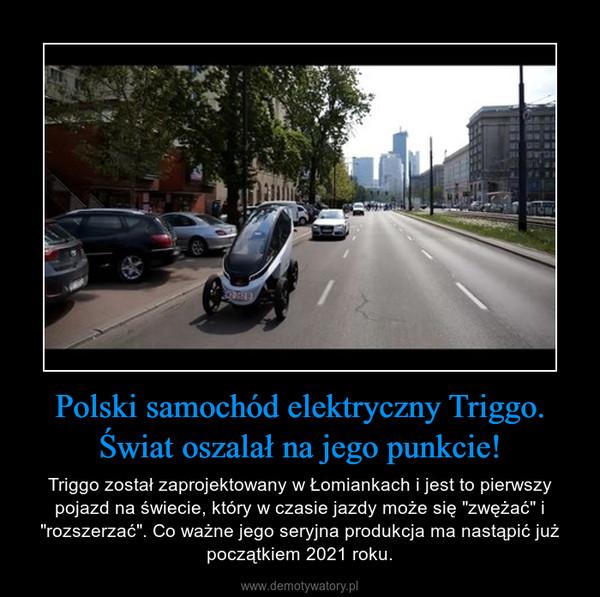 """Polski samochód elektryczny Triggo. Świat oszalał na jego punkcie! – Triggo został zaprojektowany w Łomiankach i jest to pierwszy pojazd na świecie, który w czasie jazdy może się """"zwężać"""" i """"rozszerzać"""". Co ważne jego seryjna produkcja ma nastąpić już początkiem 2021 roku."""