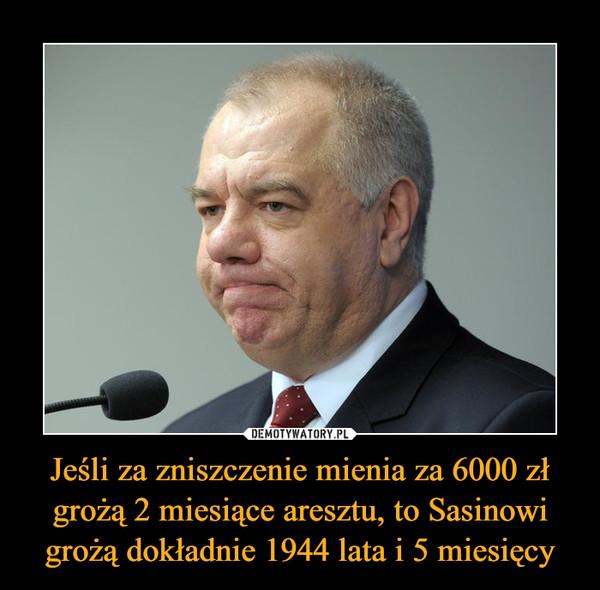 Jeśli za zniszczenie mienia za 6000 zł grożą 2 miesiące aresztu, to Sasinowi grożą dokładnie 1944 lata i 5 miesięcy