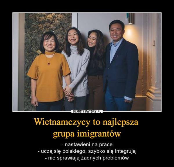 Wietnamczycy to najlepsza grupa imigrantów – - nastawieni na pracę- uczą się polskiego, szybko się integrują- nie sprawiają żadnych problemów