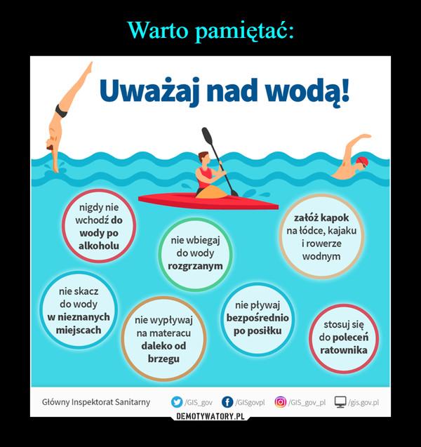 –  Uważaj nad wodą! 4, nigdy nie wchodź do wody po alkoholu nie wbiegaj do wody rozgrzanym załóż kapok na łódce, kajaku i rowerze wodnym nie skacz do wody w nieznanych miejscach nie wypływaj na materacu daleko od brzegu nie pływaj bezpośrednio po posiłku stosuj się do poleceń ratownika Główny Inspektorat Sanitarny