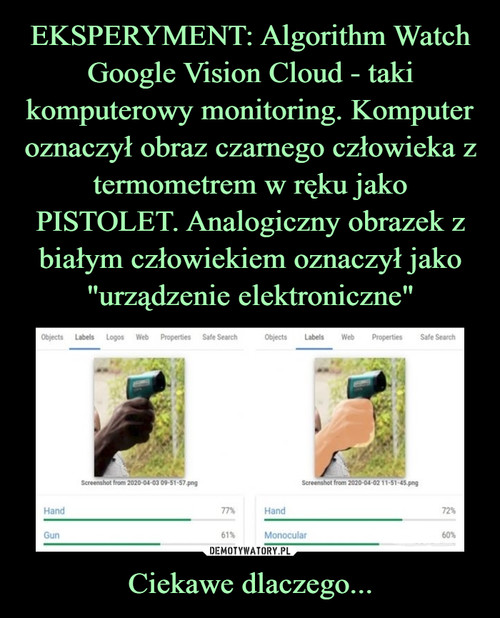 """EKSPERYMENT: Algorithm Watch Google Vision Cloud - taki komputerowy monitoring. Komputer oznaczył obraz czarnego człowieka z termometrem w ręku jako PISTOLET. Analogiczny obrazek z białym człowiekiem oznaczył jako """"urządzenie elektroniczne"""" Ciekawe dlaczego..."""