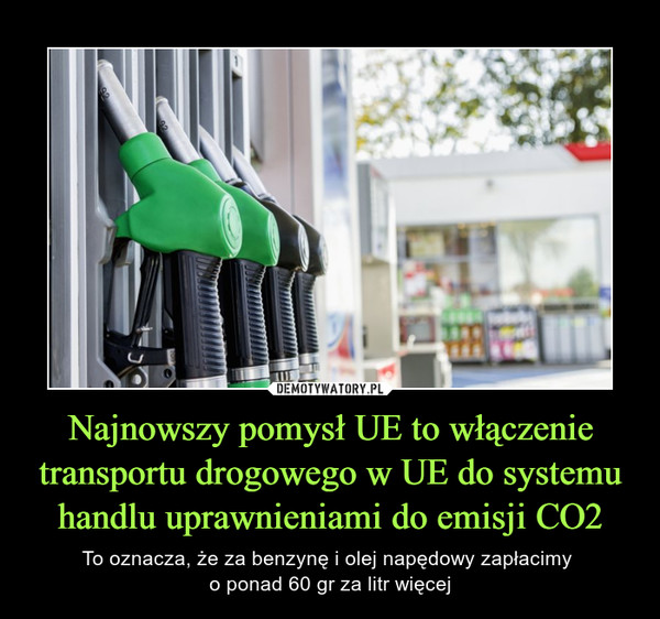 Najnowszy pomysł UE to włączenie transportu drogowego w UE do systemu handlu uprawnieniami do emisji CO2 – To oznacza, że za benzynę i olej napędowy zapłacimy o ponad 60 gr za litr więcej