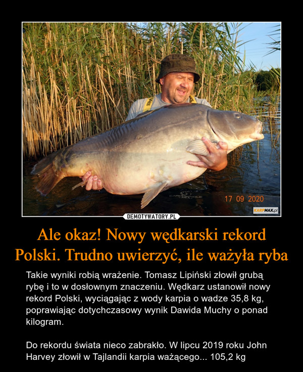 Ale okaz! Nowy wędkarski rekord Polski. Trudno uwierzyć, ile ważyła ryba – Takie wyniki robią wrażenie. Tomasz Lipiński złowił grubą rybę i to w dosłownym znaczeniu. Wędkarz ustanowił nowy rekord Polski, wyciągając z wody karpia o wadze 35,8 kg, poprawiając dotychczasowy wynik Dawida Muchy o ponad kilogram.Do rekordu świata nieco zabrakło. W lipcu 2019 roku John Harvey złowił w Tajlandii karpia ważącego... 105,2 kg