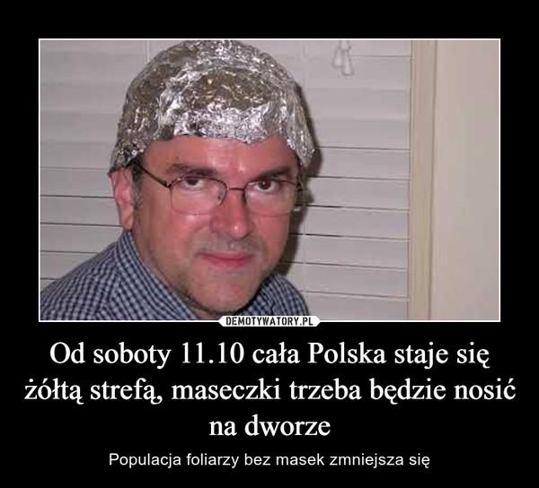Od soboty 11.10 cała Polska staje się żółtą strefą, maseczki trzeba będzie nosić na dworze – Populacja foliarzy bez masek zmniejsza się