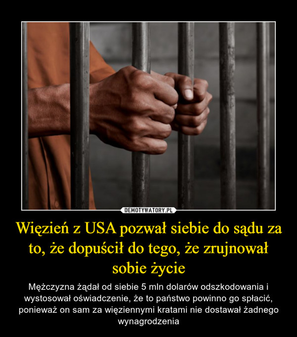 Więzień z USA pozwał siebie do sądu za to, że dopuścił do tego, że zrujnował sobie życie – Mężczyzna żądał od siebie 5 mln dolarów odszkodowania i wystosował oświadczenie, że to państwo powinno go spłacić, ponieważ on sam za więziennymi kratami nie dostawał żadnego wynagrodzenia