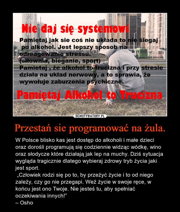 """Przestań sie programować na żula. – W Polsce blisko kas jest dostęp do alkoholi i małe dzieci oraz dorośli programują się codziennie widząc wódkę, wino oraz słodycze które działają jak lep na muchy. Dziś sytuacja wygląda tragicznie dlatego wybieraj zdrowy tryb życia jaki jest sport.  """"Człowiek rodzi się po to, by przeżyć życie i to od niego zależy, czy go nie przegapi. Weź życie w swoje ręce, w końcu jest ono Twoje. Nie jesteś tu, aby spełniać oczekiwania innych!""""– Osho"""