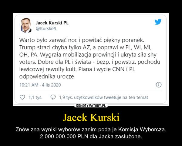 Jacek Kurski – Znów zna wyniki wyborów zanim poda je Komisja Wyborcza. 2.000.000.000 PLN dla Jacka zasłużone.