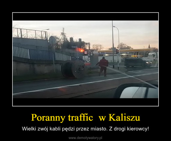 Poranny traffic  w Kaliszu – Wielki zwój kabli pędzi przez miasto. Z drogi kierowcy!