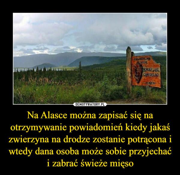Na Alasce można zapisać się na otrzymywanie powiadomień kiedy jakaś zwierzyna na drodze zostanie potrącona i wtedy dana osoba może sobie przyjechać i zabrać świeże mięso –