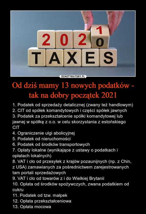 Od dziś mamy 13 nowych podatków - tak na dobry początek 2021
