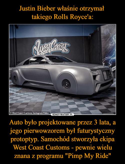 """Justin Bieber właśnie otrzymał  takiego Rolls Royce'a: Auto było projektowane przez 3 lata, a jego pierwowzorem był futurystyczny protoptyp. Samochód stworzyła ekipa West Coast Customs - pewnie wielu znana z programu """"Pimp My Ride"""""""