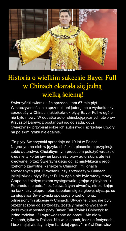 Historia o wielkim sukcesie Bayer Full  w Chinach okazała się jedną  wielką ściemą!