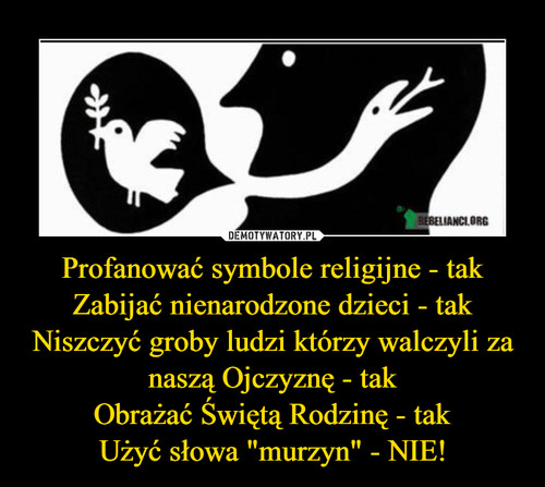 """Profanować symbole religijne - tak Zabijać nienarodzone dzieci - tak Niszczyć groby ludzi którzy walczyli za naszą Ojczyznę - tak Obrażać Świętą Rodzinę - tak Użyć słowa """"murzyn"""" - NIE!"""