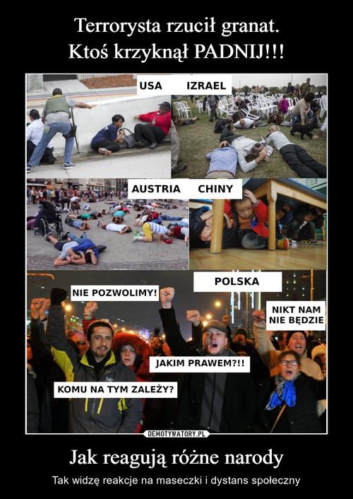 Terrorysta rzucił granat. Ktoś krzyknął PADNIJ!!! Jak reagują różne narody