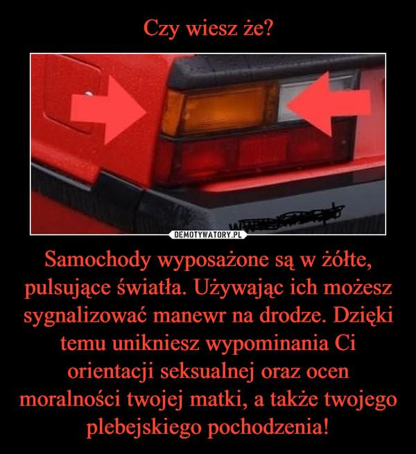 Samochody wyposażone są w żółte, pulsujące światła. Używając ich możesz sygnalizować manewr na drodze. Dzięki temu unikniesz wypominania Ci orientacji seksualnej oraz ocen moralności twojej matki, a także twojego plebejskiego pochodzenia! –