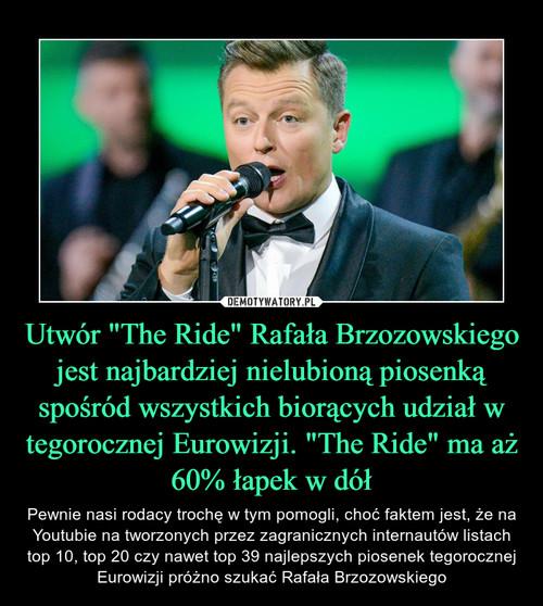 """Utwór """"The Ride"""" Rafała Brzozowskiego jest najbardziej nielubioną piosenką spośród wszystkich biorących udział w tegorocznej Eurowizji. """"The Ride"""" ma aż 60% łapek w dół"""