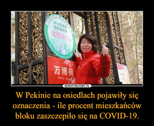 W Pekinie na osiedlach pojawiły się oznaczenia - ile procent mieszkańców bloku zaszczepiło się na COVID-19.