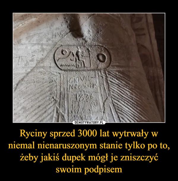 Ryciny sprzed 3000 lat wytrwały w niemal nienaruszonym stanie tylko po to, żeby jakiś dupek mógł je zniszczyć swoim podpisem –