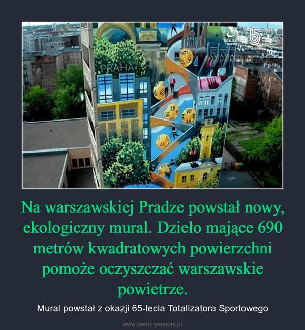 Na warszawskiej Pradze powstał nowy, ekologiczny mural. Dzieło mające 690 metrów kwadratowych powierzchni pomoże oczyszczać warszawskie powietrze. – Mural powstał z okazji 65-lecia Totalizatora Sportowego
