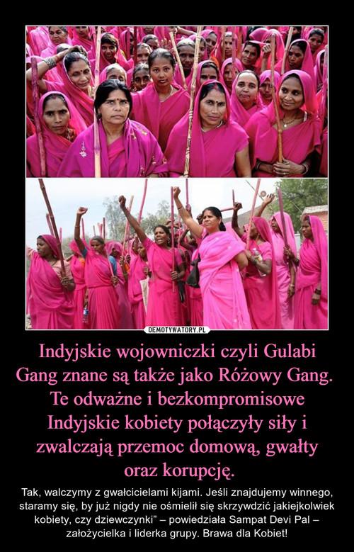 Indyjskie wojowniczki czyli Gulabi Gang znane są także jako Różowy Gang.  Te odważne i bezkompromisowe Indyjskie kobiety połączyły siły i zwalczają przemoc domową, gwałty  oraz korupcję.