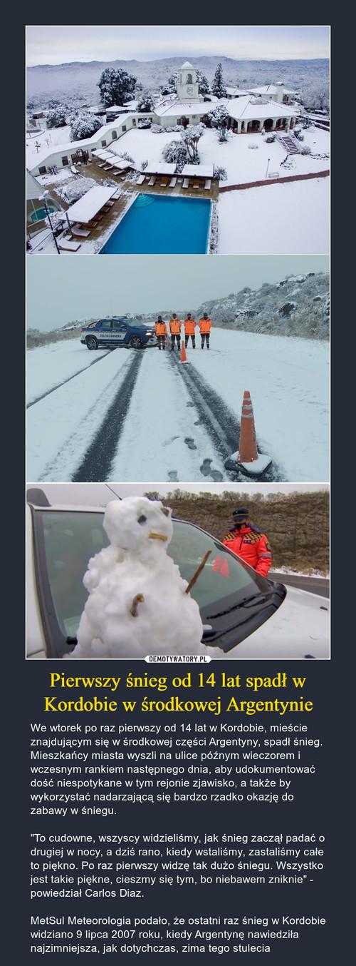 Pierwszy śnieg od 14 lat spadł w Kordobie w środkowej Argentynie